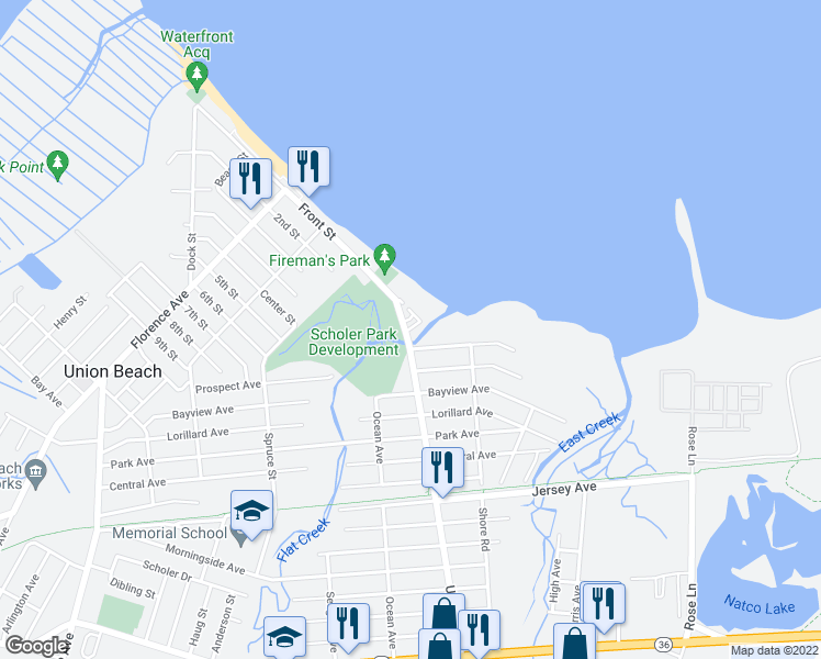 map of restaurants, bars, coffee shops, grocery stores, and more near Gateway Court in Union Beach