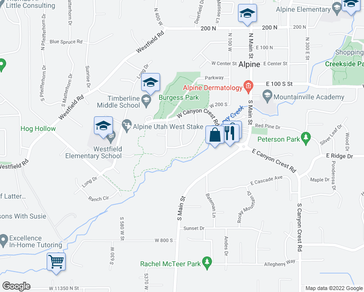 map of restaurants, bars, coffee shops, grocery stores, and more near 516 Twin River Loop in Alpine