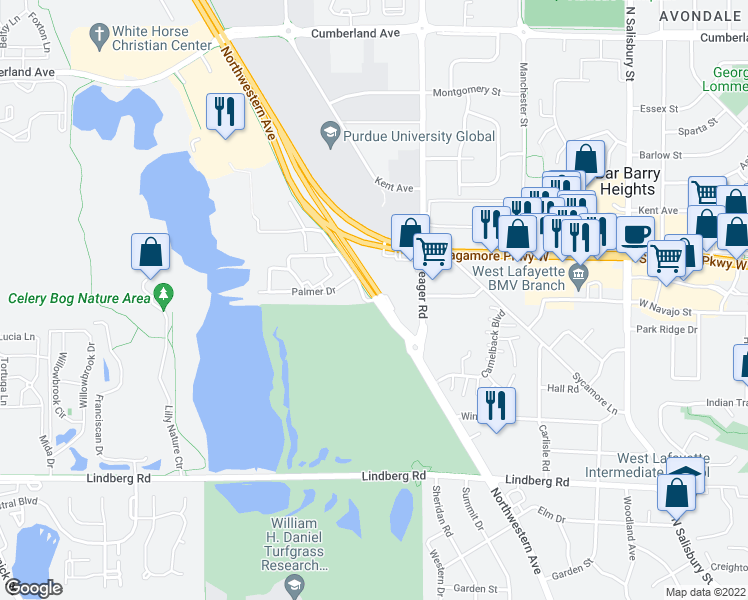 map of restaurants, bars, coffee shops, grocery stores, and more near Neil Armstrong Drive in West Lafayette