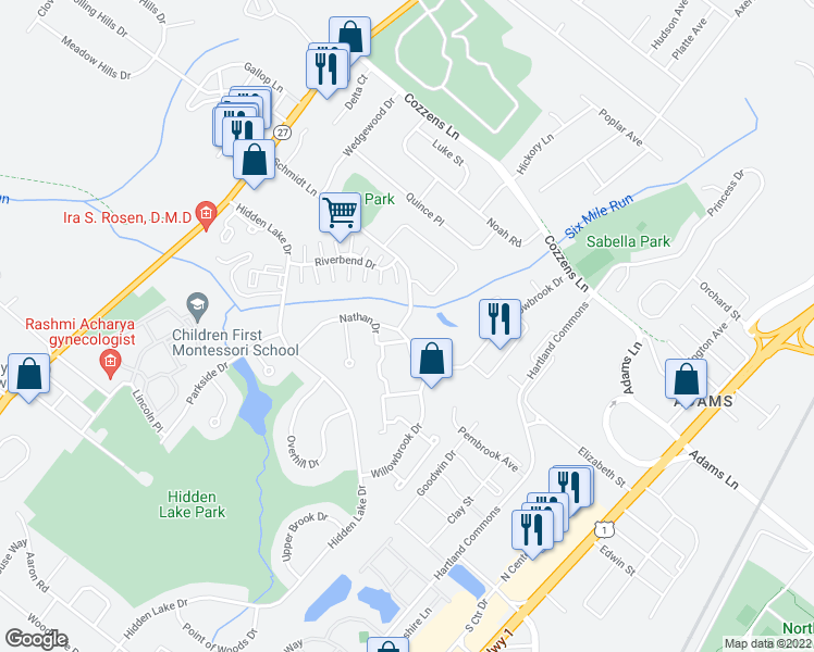 map of restaurants, bars, coffee shops, grocery stores, and more near Nathan Drive in North Brunswick Township