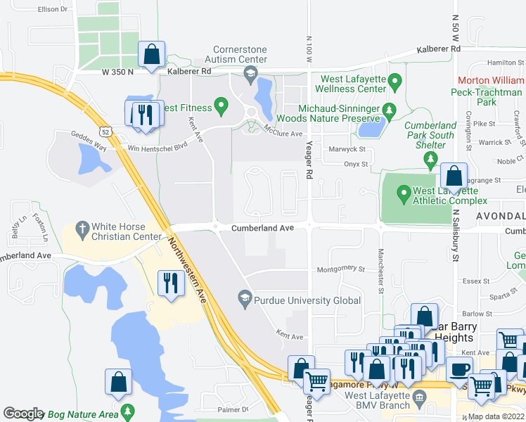 map of restaurants, bars, coffee shops, grocery stores, and more near 3001-3017 Courthouse Drive West in West Lafayette