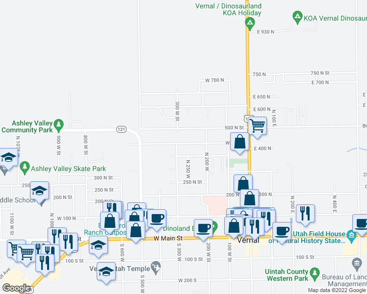 map of restaurants, bars, coffee shops, grocery stores, and more near 281 West 400 North in Vernal
