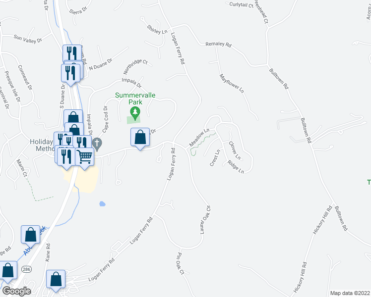 map of restaurants, bars, coffee shops, grocery stores, and more near 200 Meadow Ln in Murrysville