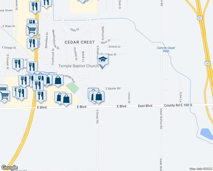 map of restaurants, bars, coffee shops, grocery stores, and more near 1930 South Goyer Road in Kokomo