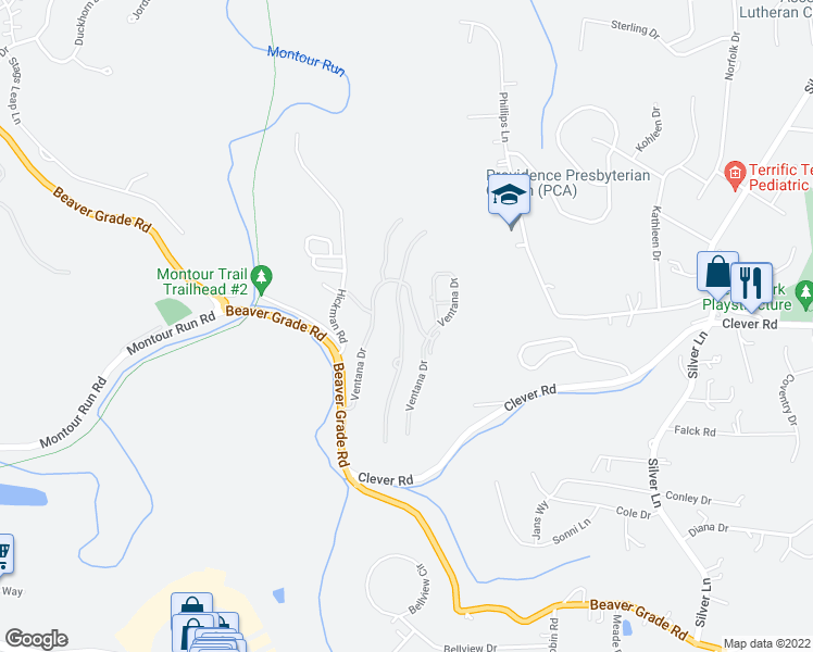 map of restaurants, bars, coffee shops, grocery stores, and more near 1350 Ventana Drive in Coraopolis