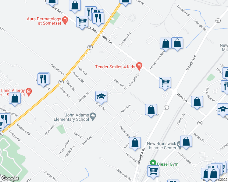 map of restaurants, bars, coffee shops, grocery stores, and more near 1000 Crescent Court in North Brunswick