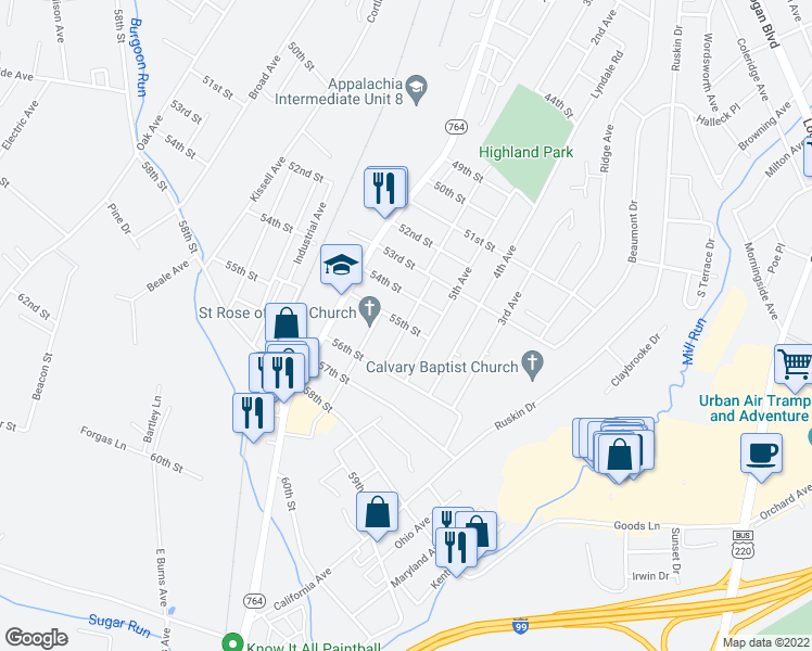 map of restaurants, bars, coffee shops, grocery stores, and more near Montrose Avenue in Altoona