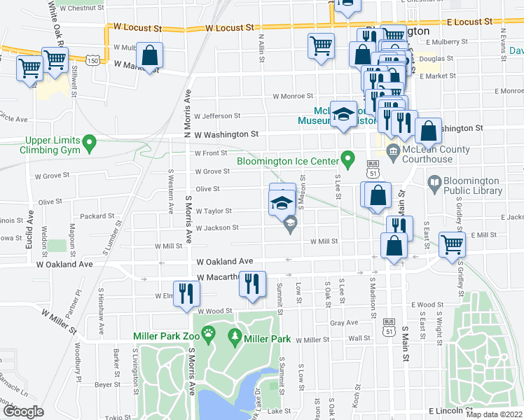 map of restaurants, bars, coffee shops, grocery stores, and more near W Taylor St & S Allin St in Bloomington