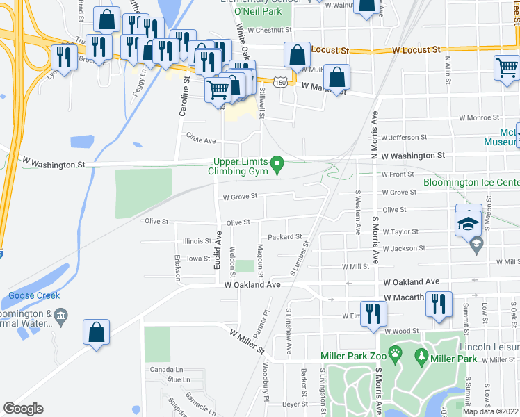 map of restaurants, bars, coffee shops, grocery stores, and more near 101 Magoun Street in Bloomington