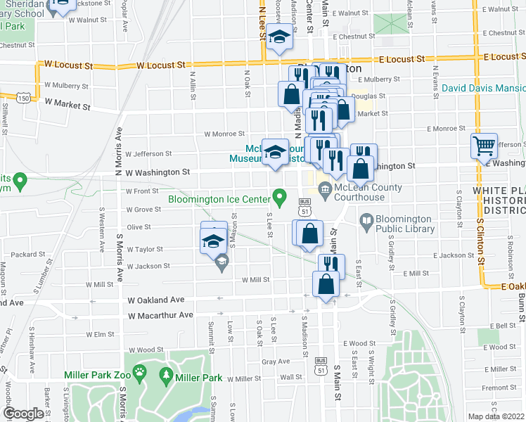 map of restaurants, bars, coffee shops, grocery stores, and more near 504 West Grove Street in Bloomington