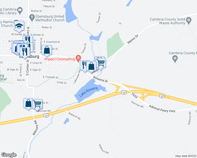 map of restaurants, bars, coffee shops, grocery stores, and more near 952-980 Rowena Drive in Ebensburg