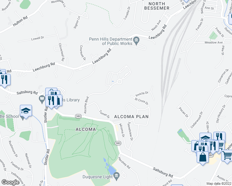 map of restaurants, bars, coffee shops, grocery stores, and more near 225 Alcoma Boulevard in Verona