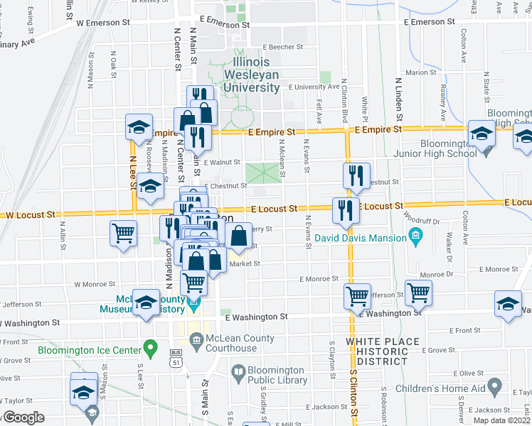 map of restaurants, bars, coffee shops, grocery stores, and more near 313 East Locust Street in Bloomington