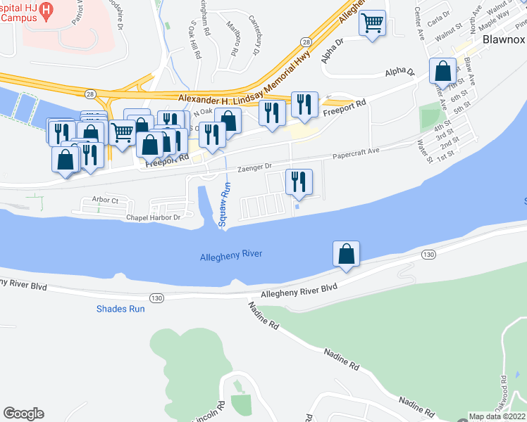map of restaurants, bars, coffee shops, grocery stores, and more near 501 Riverfront Drive in Pittsburgh