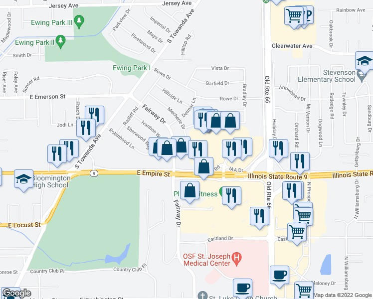 map of restaurants, bars, coffee shops, grocery stores, and more near 318 Mecherle Drive in Bloomington