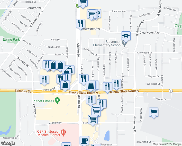 map of restaurants, bars, coffee shops, grocery stores, and more near 1216 Orchard Road in Bloomington