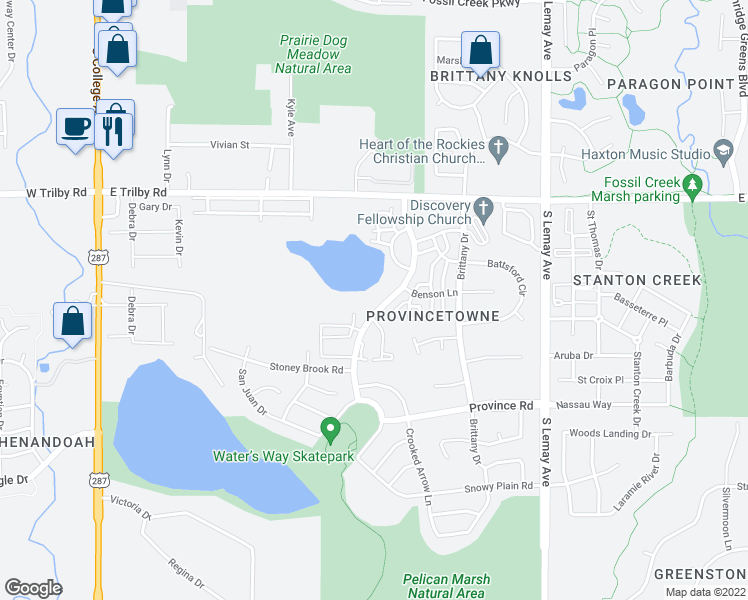map of restaurants, bars, coffee shops, grocery stores, and more near 6827 Autumn Ridge Drive in Fort Collins