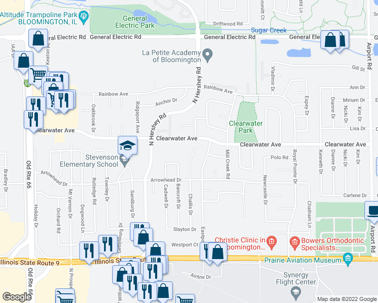 map of restaurants, bars, coffee shops, grocery stores, and more near 1414 Challis Drive in Bloomington