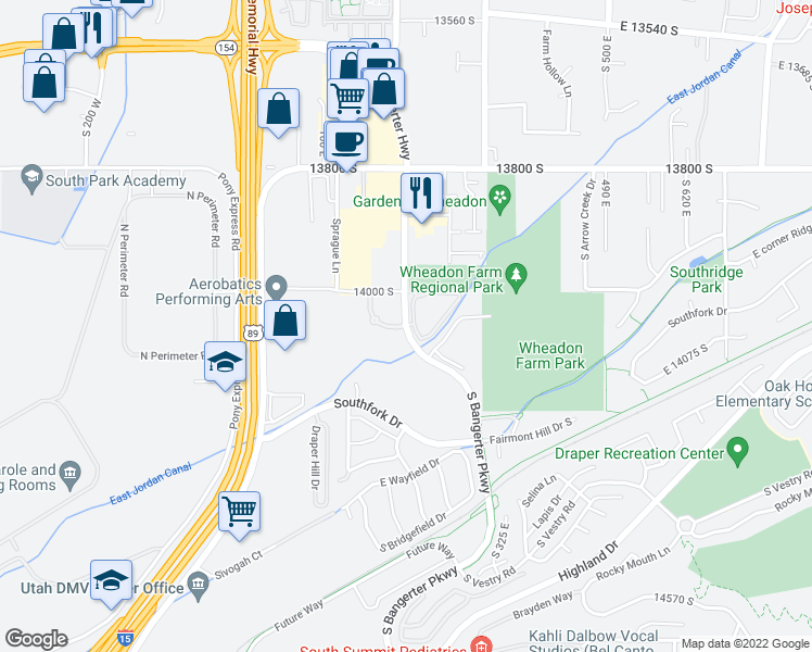 map of restaurants, bars, coffee shops, grocery stores, and more near 14075 South Bangerter Parkway in Draper