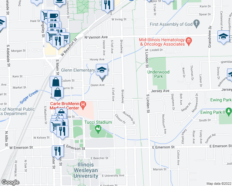 map of restaurants, bars, coffee shops, grocery stores, and more near 1112 South Fell Avenue in Normal