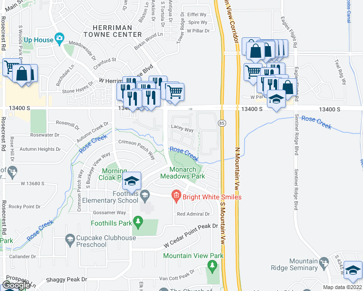 map of restaurants, bars, coffee shops, grocery stores, and more near 4939 Atala Way in Riverton