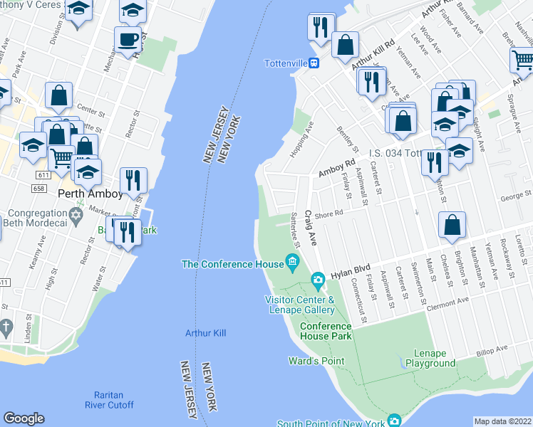 map of restaurants, bars, coffee shops, grocery stores, and more near 70 Wards Point Avenue in Staten Island