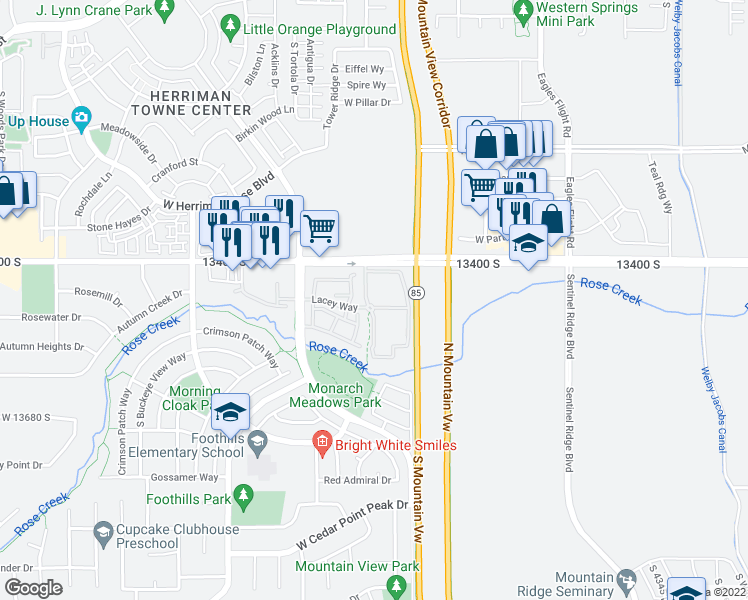 map of restaurants, bars, coffee shops, grocery stores, and more near 13469 Dragonfly Lane in Riverton