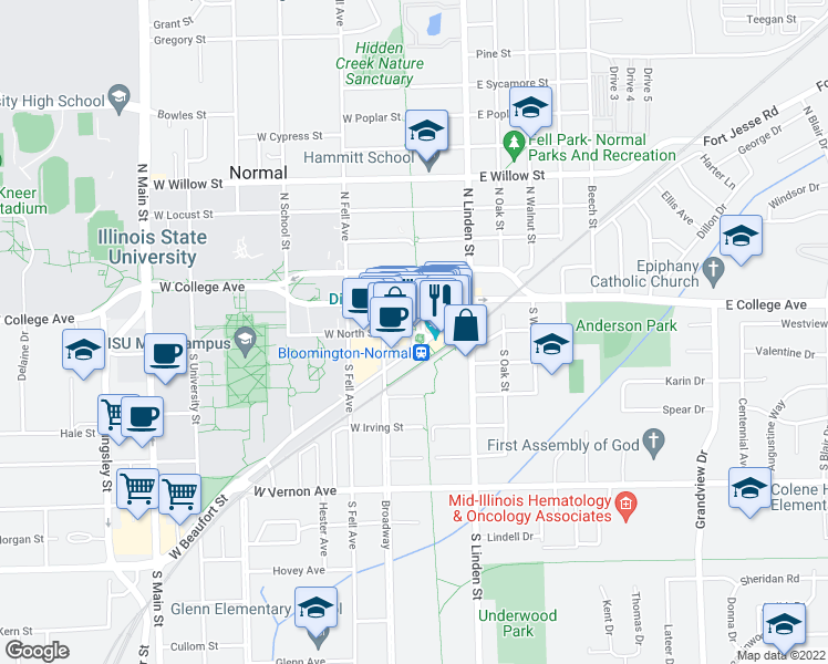 map of restaurants, bars, coffee shops, grocery stores, and more near 11 Uptown Circle in Normal