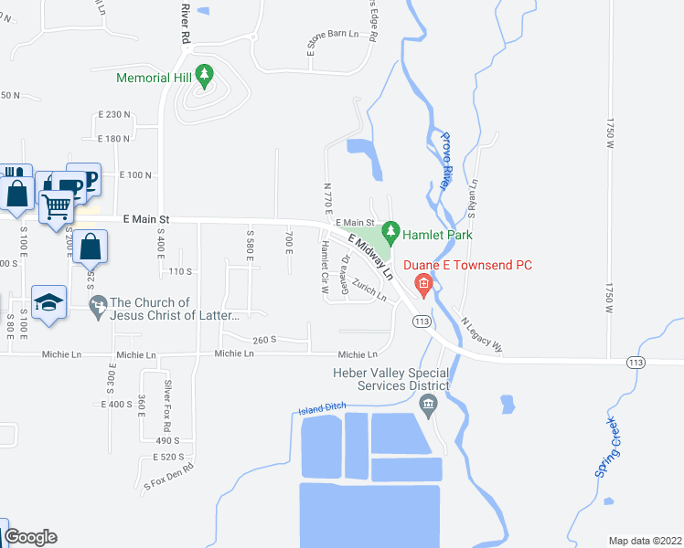 map of restaurants, bars, coffee shops, grocery stores, and more near Geneva Drive in Midway