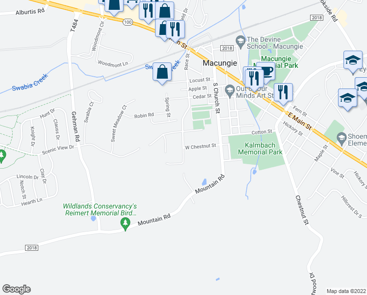 map of restaurants, bars, coffee shops, grocery stores, and more near 81 West Chestnut Street in Macungie