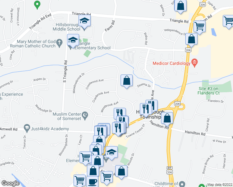 map of restaurants, bars, coffee shops, grocery stores, and more near 26 Meadowbrook Drive in Somerset County