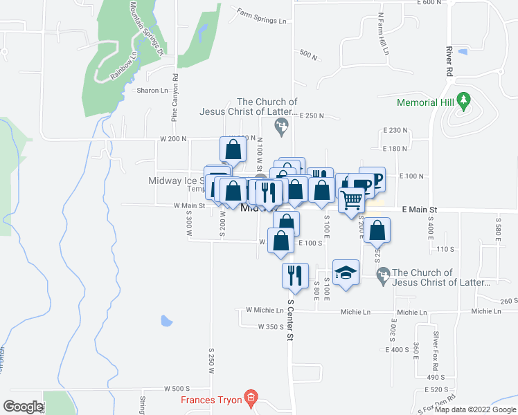 map of restaurants, bars, coffee shops, grocery stores, and more near West Midway Lane in Midway