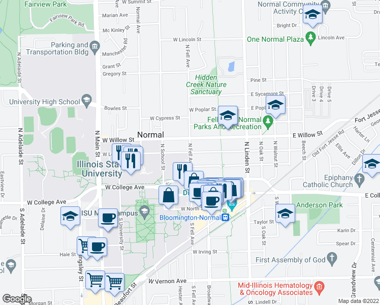 map of restaurants, bars, coffee shops, grocery stores, and more near N Fell Ave & W Locust St in Normal