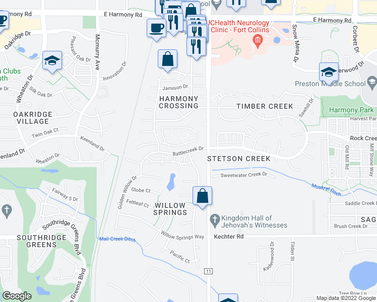 map of restaurants, bars, coffee shops, grocery stores, and more near 3 Battlecreek Drive in Fort Collins