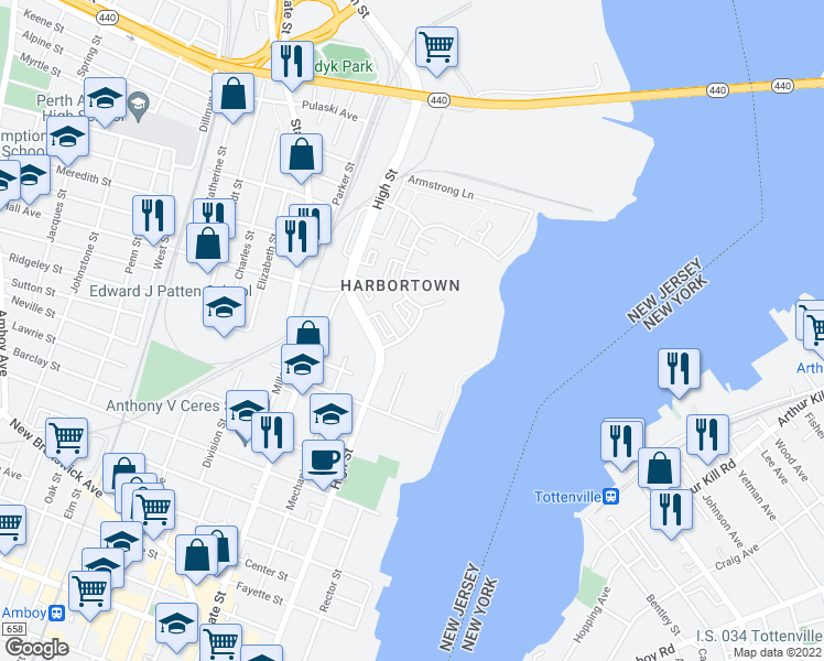 map of restaurants, bars, coffee shops, grocery stores, and more near 602 Harbortown Boulevard in Perth Amboy