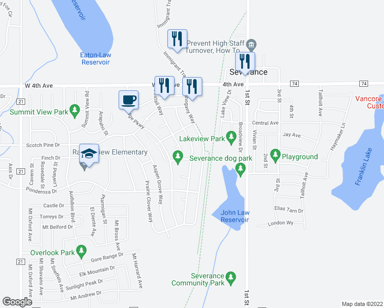 map of restaurants, bars, coffee shops, grocery stores, and more near 884 Cliffrose Way in Severance