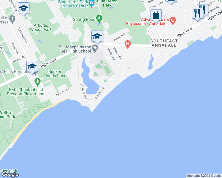 map of restaurants, bars, coffee shops, grocery stores, and more near 50 Nicolosi Drive in Staten Island