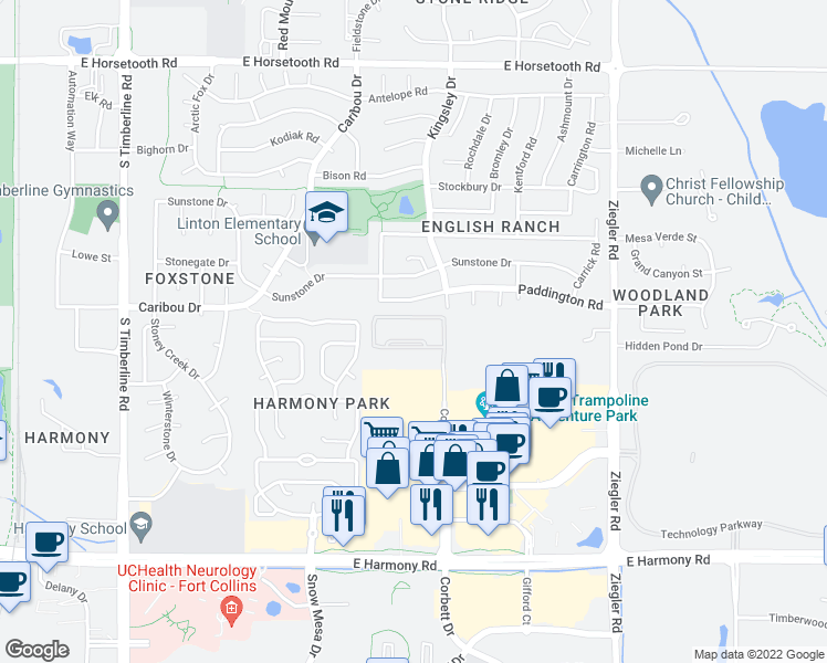 map of restaurants, bars, coffee shops, grocery stores, and more near 4201 Corbett Drive in Fort Collins