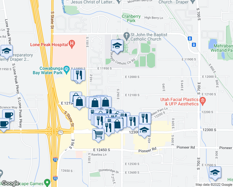 map of restaurants, bars, coffee shops, grocery stores, and more near 12092 South Draper Crest Lane in Draper