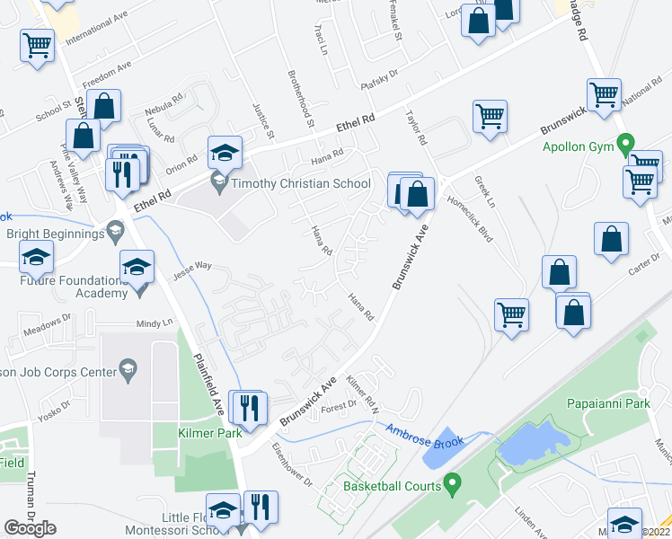 map of restaurants, bars, coffee shops, grocery stores, and more near 126 Hana Road in Edison