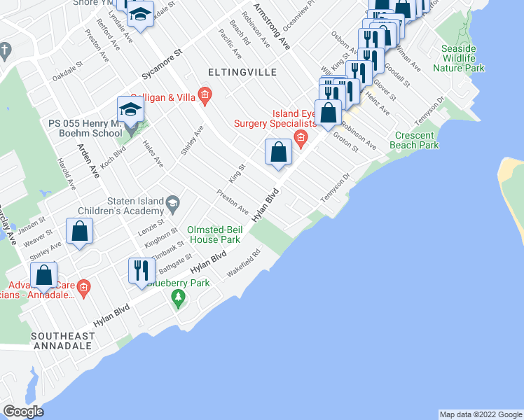 map of restaurants, bars, coffee shops, grocery stores, and more near 433 Preston Avenue in Staten Island