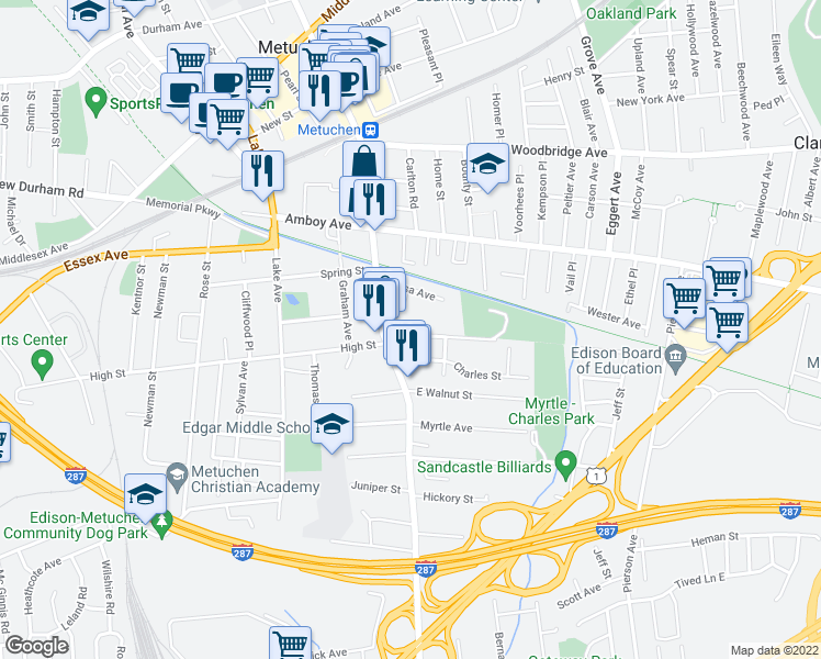 map of restaurants, bars, coffee shops, grocery stores, and more near 35 Lincoln Avenue in Metuchen