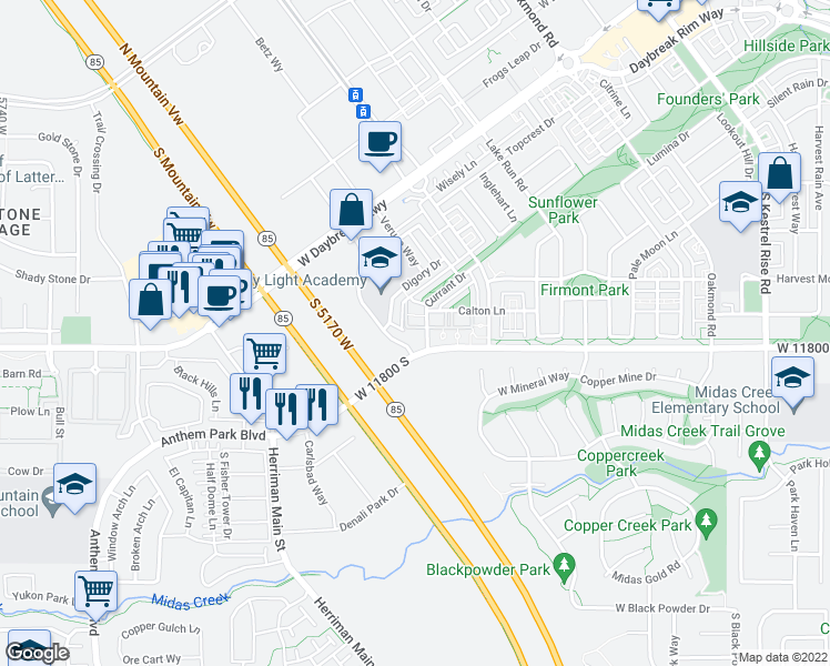 map of restaurants, bars, coffee shops, grocery stores, and more near Spoonbill Lane in South Jordan