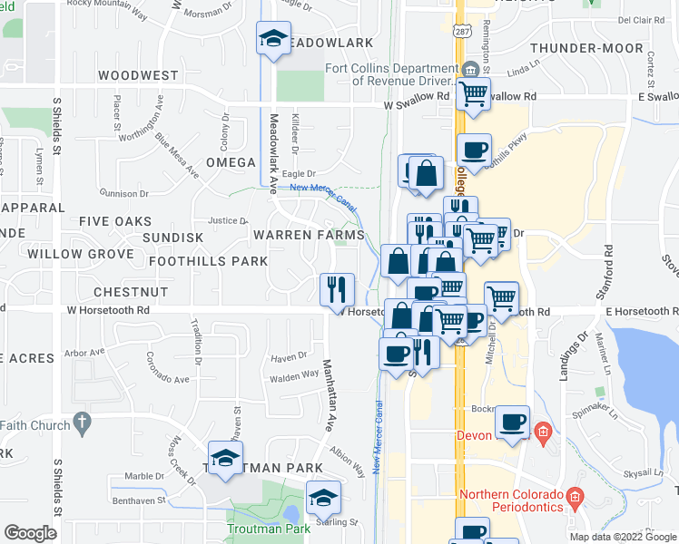 map of restaurants, bars, coffee shops, grocery stores, and more near 350 Riva Ridge Drive in Fort Collins