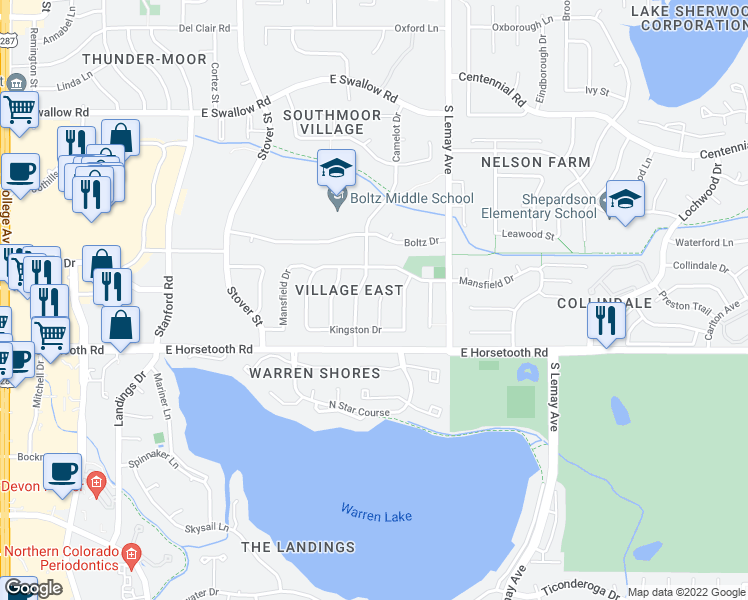 map of restaurants, bars, coffee shops, grocery stores, and more near 3513 Kingston Circle in Fort Collins