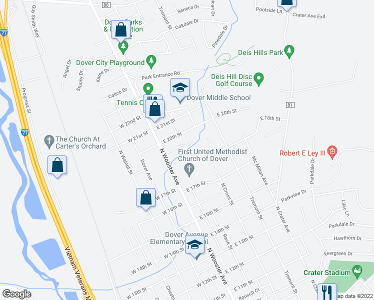 map of restaurants, bars, coffee shops, grocery stores, and more near 101 Brookside Drive in Dover