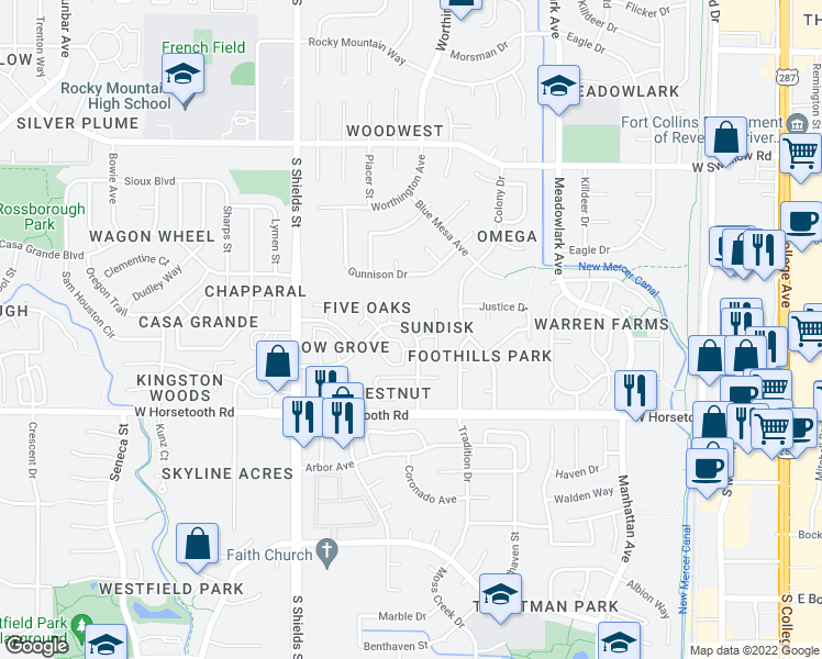 map of restaurants, bars, coffee shops, grocery stores, and more near 906 Richmond Drive in Fort Collins