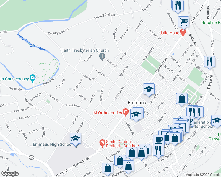 map of restaurants, bars, coffee shops, grocery stores, and more near Spruce Street in Emmaus