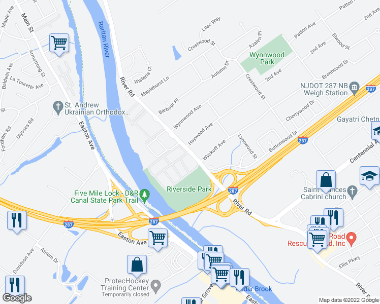map of restaurants, bars, coffee shops, grocery stores, and more near 410 River Road in Piscataway