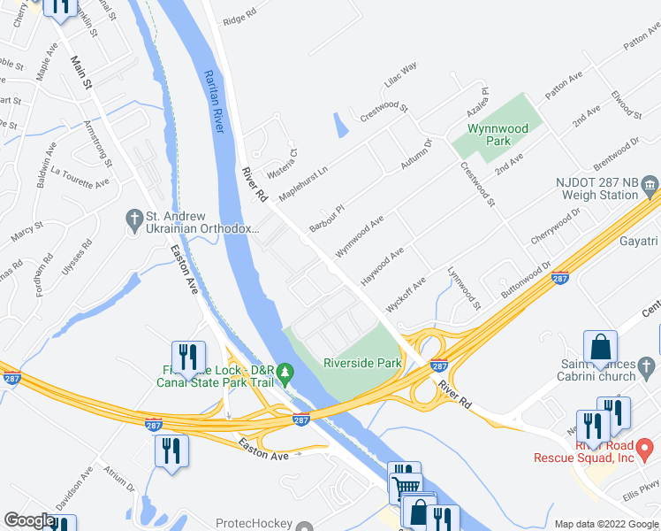 map of restaurants, bars, coffee shops, grocery stores, and more near 303 River Road in Piscataway Township
